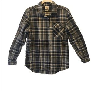 The North Face Blue Gray Plaid Button Down Shirt S